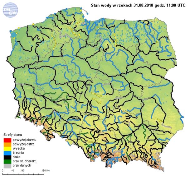 Rys. 7. Strefy stanów wody głównych rzek w Polsce w dniu 31 sierpnia 2018r.