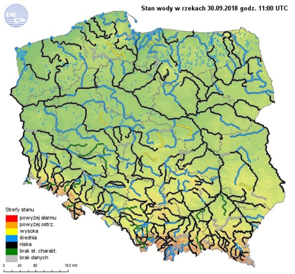 Rys. 8. Strefy stanów wody głównych rzek w Polsce w dniu 30 września 2018r.
