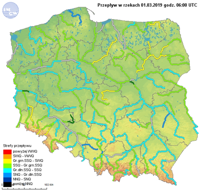 Ryc. 2. Przepływ w rzekach dnia 1 marca 2019 roku.