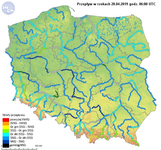 Ryc. 4. Przepływ w rzekach dnia 28.04.2019