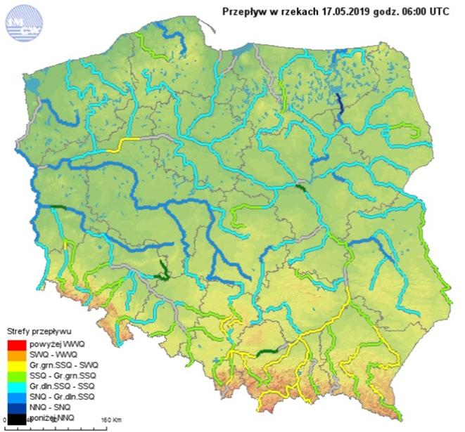 Ryc. 6. Przepływ w rzekach dnia 17 maja 2019 roku