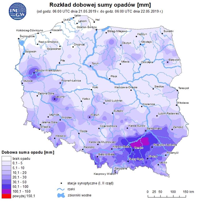 Ryc. 3 Mapa opadowa – stan na godz. 08:00 czasu urzędowego 22.05.2019