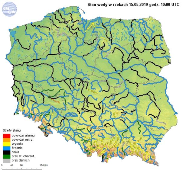 Rys. 13. Strefy stanów wody głównych rzek w Polsce w dniu 15 maja 2019r.
