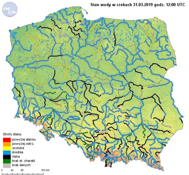 Rys. 9. Strefy stanów wody głównych rzek w Polsce w dniu 31 marca 2019r.