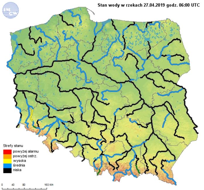 Ryc. 3. Stan wody w rzekach dnia 27 kwietnia 2019 roku