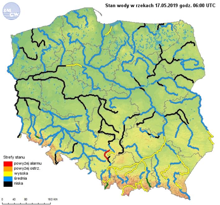 Ryc. 5. Stan wody w rzekach dnia 17 maja 2019 roku