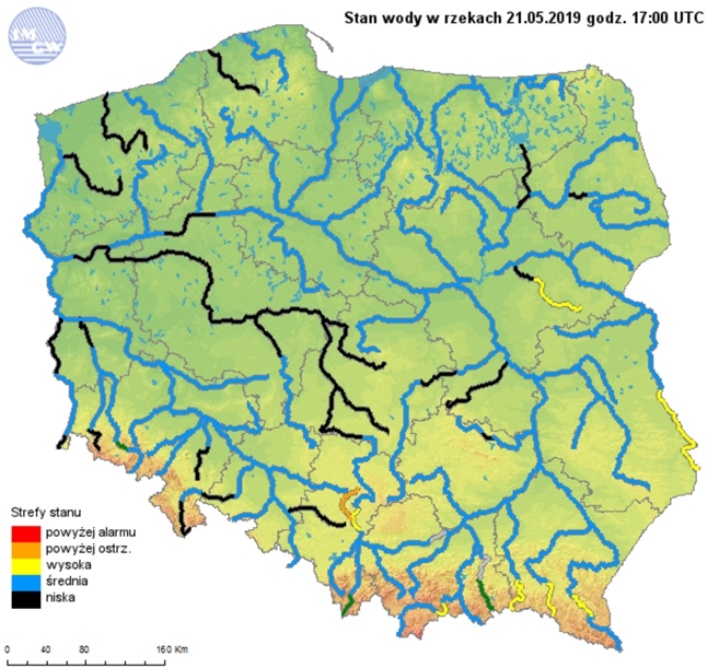 Ryc. 2 Stan wody w rzekach 21.05.2019 o godzinie 19:00 Czasu Urzędowego.