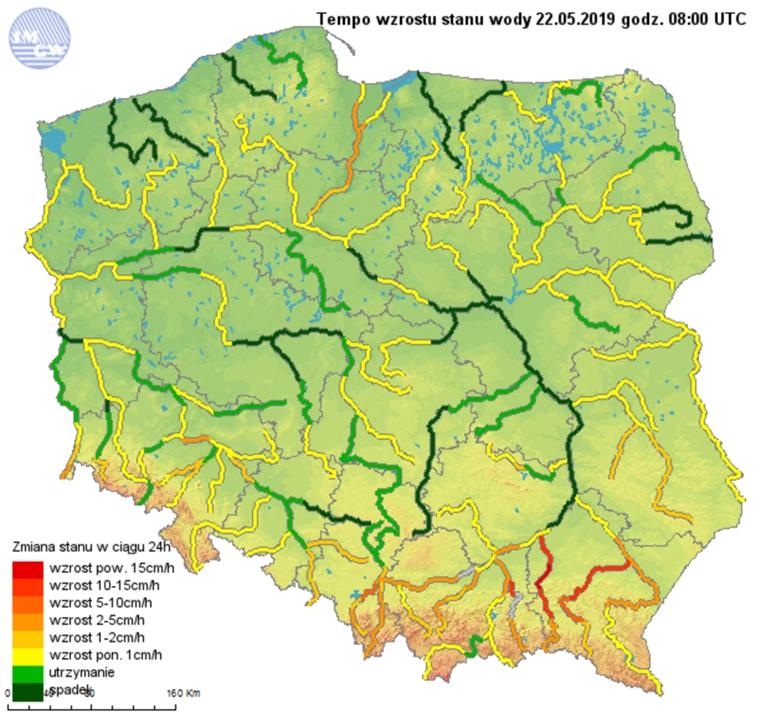 Ryc. 1. Tempo wzrostu stanu wody 22.05.2019 o godzinie 10:00 Czasu Urzędowego.