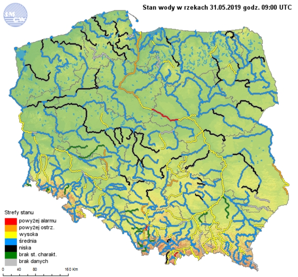Rys. 2. Stany wody w rzekach w dniu 31.05.2019r.