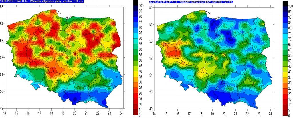 Rys. 3. Wilgotność gleby na głębokości 7-28 cm w dniu 10.05.2019r. (lewy) oraz w dniu 20.05.2019r. (prawy) – na podstawie obrazów satelitarnych
