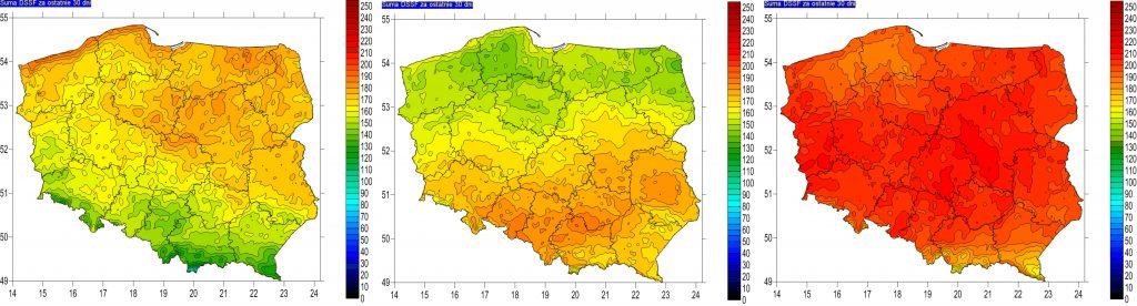 Rys. 8. Suma miesięczna energii promieniowania krótkofalowego docierającego do powierzchni ziemi za czerwiec: w 2017 roku (lewy), 2018 roku (środkowy) oraz 2019r. (prawy) – na podstawie obrazów satelitarnych