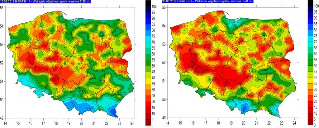 Rys. 9. Wilgotność gleby na głębokości 7-28 cm w dniu 10.06. (lewy) i 30.06.2019r. (prawy) – na podstawie obrazów satelitarnych