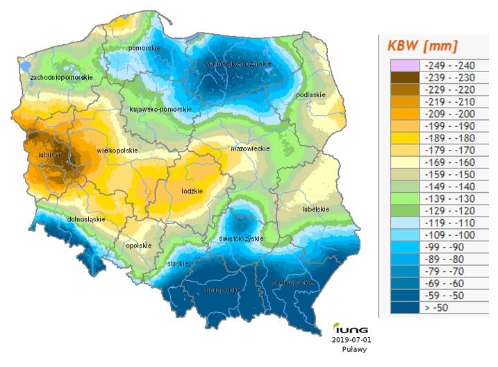 Rys. 10. Rozkład przestrzenny klimatycznego bilansu wodnego w Polsce za okres 1.V.-30.VI.2019 (źródło: IUNG-PIB)