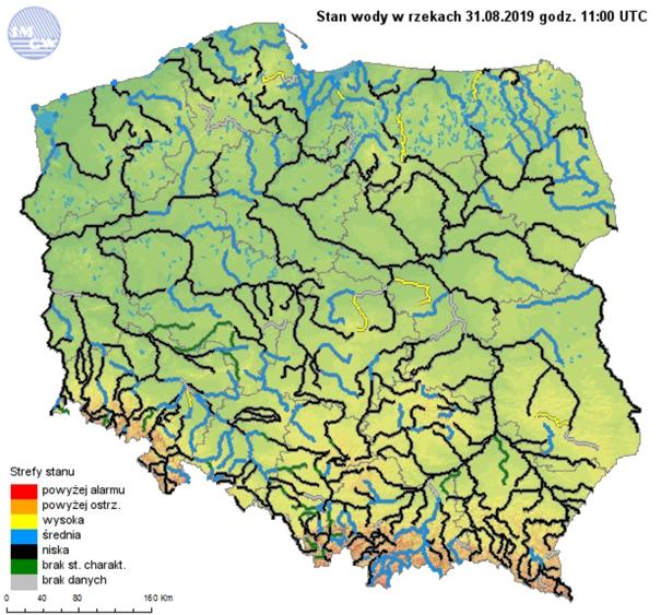 Rys. 11. Stany wody w rzekach w dniu 31.08.2019 r.