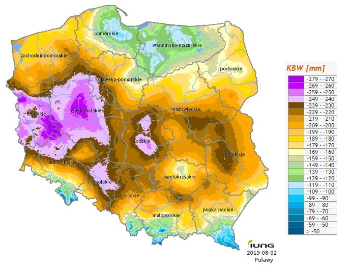Rys. 7. Rozkład przestrzenny klimatycznego bilansu wodnego w Polsce za okres 1.06.-31.07.2019 (źródło: IUNG-PIB)