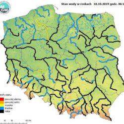 Ocena aktualnej i prognozowanej sytuacji meteorologicznej i hydrologicznej na okres 18 - 21.10.2019 r