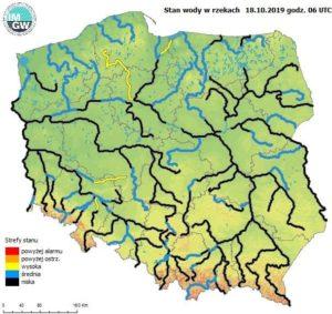 Ocena aktualnej i prognozowanej sytuacji meteorologicznej i hydrologicznej na okres 18 – 21.10.2019 r