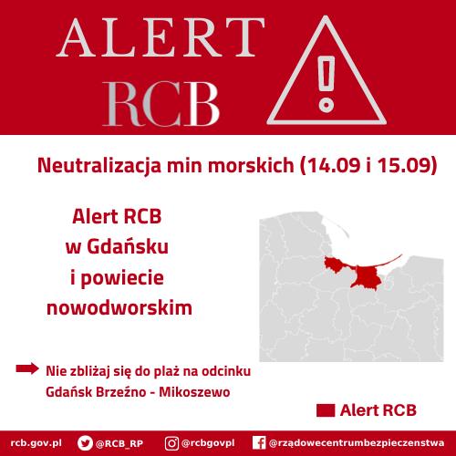 ALERT RCB: 14 i 15 września – neutralizacja min morskich