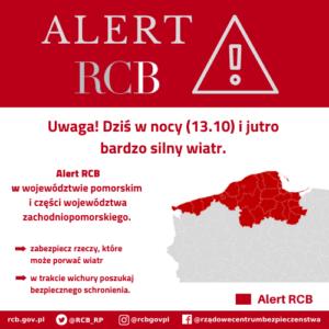 Alert RCB: bardzo silny wiatr (13.10)