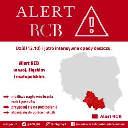 Alert RCB: intensywny deszcz w Małopolsce i na Śląsku (12.10)