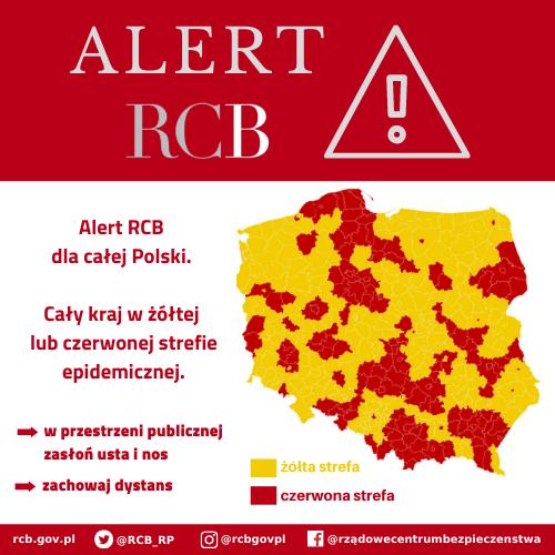 You are currently viewing ALERT RCB – Nowe POWIATY ŻÓŁTEJ I CZERWONEJ STREFY EPIDEMICZNEJ