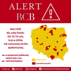 Alert RCB – powiaty żółtej i czerwonej strefy epidemicznej