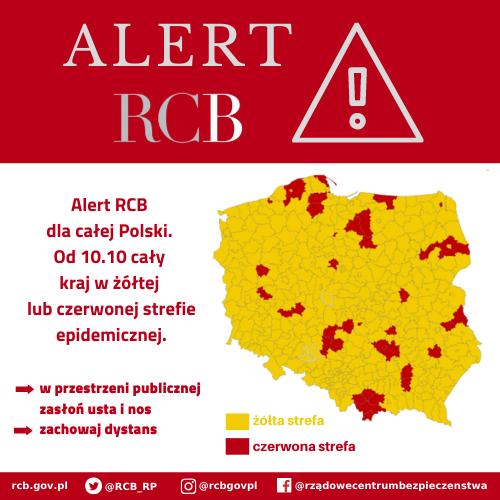 You are currently viewing Alert RCB – powiaty żółtej i czerwonej strefy epidemicznej