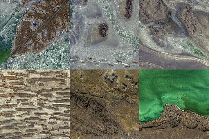 Tekstury wokół północnego regionu Morza Kaspijskiego
