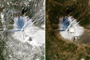 Brak śniegu na górze Fudżi