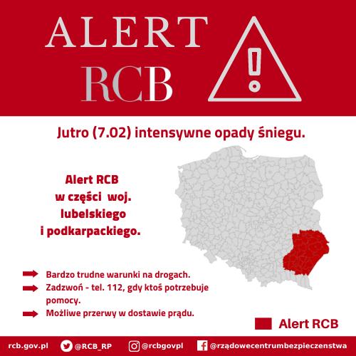 Alert RCB – intensywne opady śniegu (7.02)