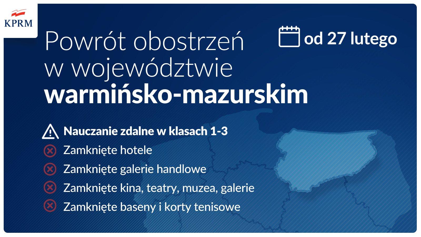 obstrzenia w warminsko mazurskim