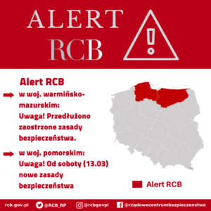 Alert RCB dla woj. pomorskiego i warmińsko-mazurskiego