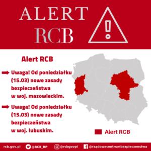 Alert RCB dla woj. lubuskiego i mazowieckiego